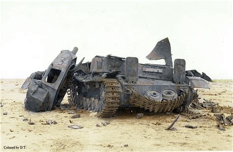 Destroyed panzer in Afrika desert