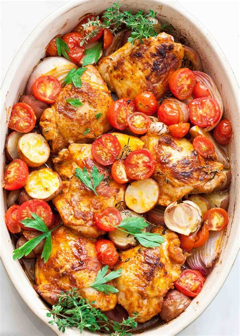 One-Pan Paprika Chicken with Potatoes and Tomatoes Recipe