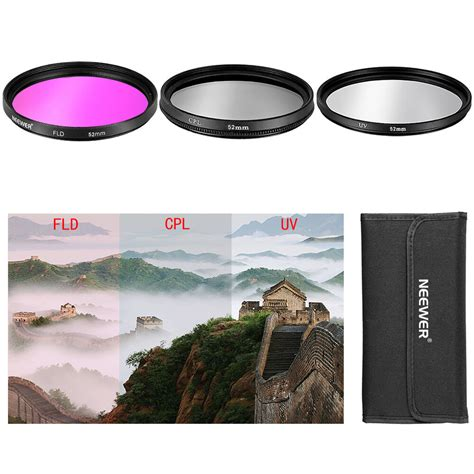 3 Pcs 52mm CPL FLD UV Filter Kit for Nikon D3100 18-55mm