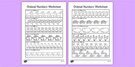 Ordinal Numbers Worksheet / Activity Sheet - Year 1, Year 2