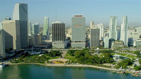 Miami - December 2012: Aerial View Bayfront Park Downtown