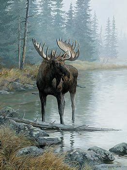 A925651968: Quiet Water-Moose Painting by P