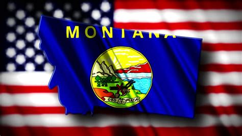 Flag Of Montana In The Shape Of Montana State With The USA