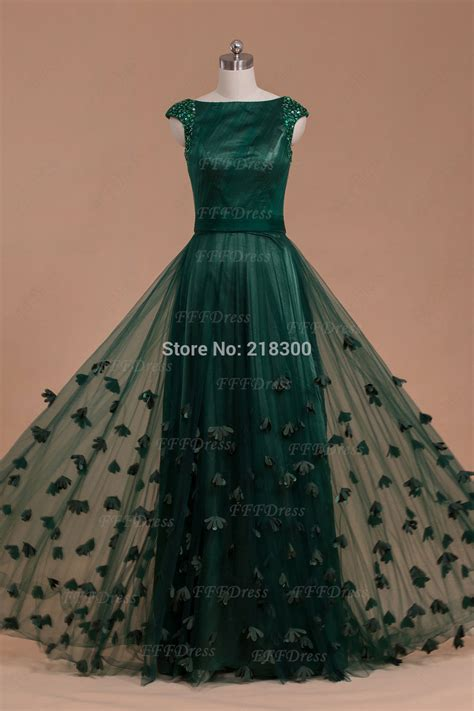 Modest Boat Neck Forest Green Prom Dresses 2014 Beaded